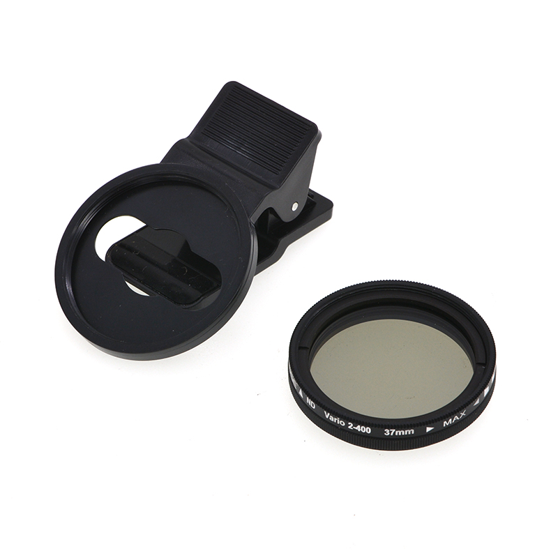 Adjustable 37mm Neutral Density Clip-on ND2 - ND400 Phone Camera Filter Lens for Android ios Mobile black