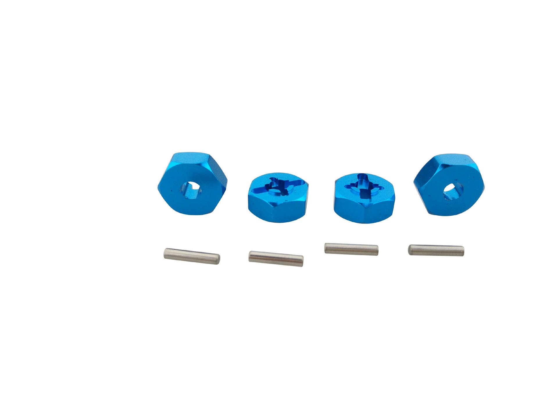 4pcs 1/18 WLtoys A949 A959 A969 A979 K929 Wheel Rim Hex 7mm Upgrade Aluminum Alloy Adapter for 1/10 Tires blue
