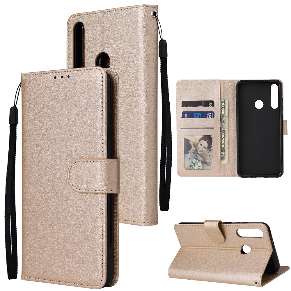 For HUAWEI PSmart 2020/Y5P/Y6P PU Leather Mobile Phone Cover with 3 Cards Slots Phone Frame Golden