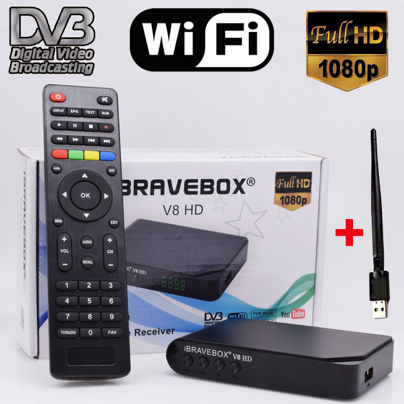 Satellite Receiver iBRAVEBOX V8 HD DVB-S/S2  Full HD Wifi Satellite Finder black