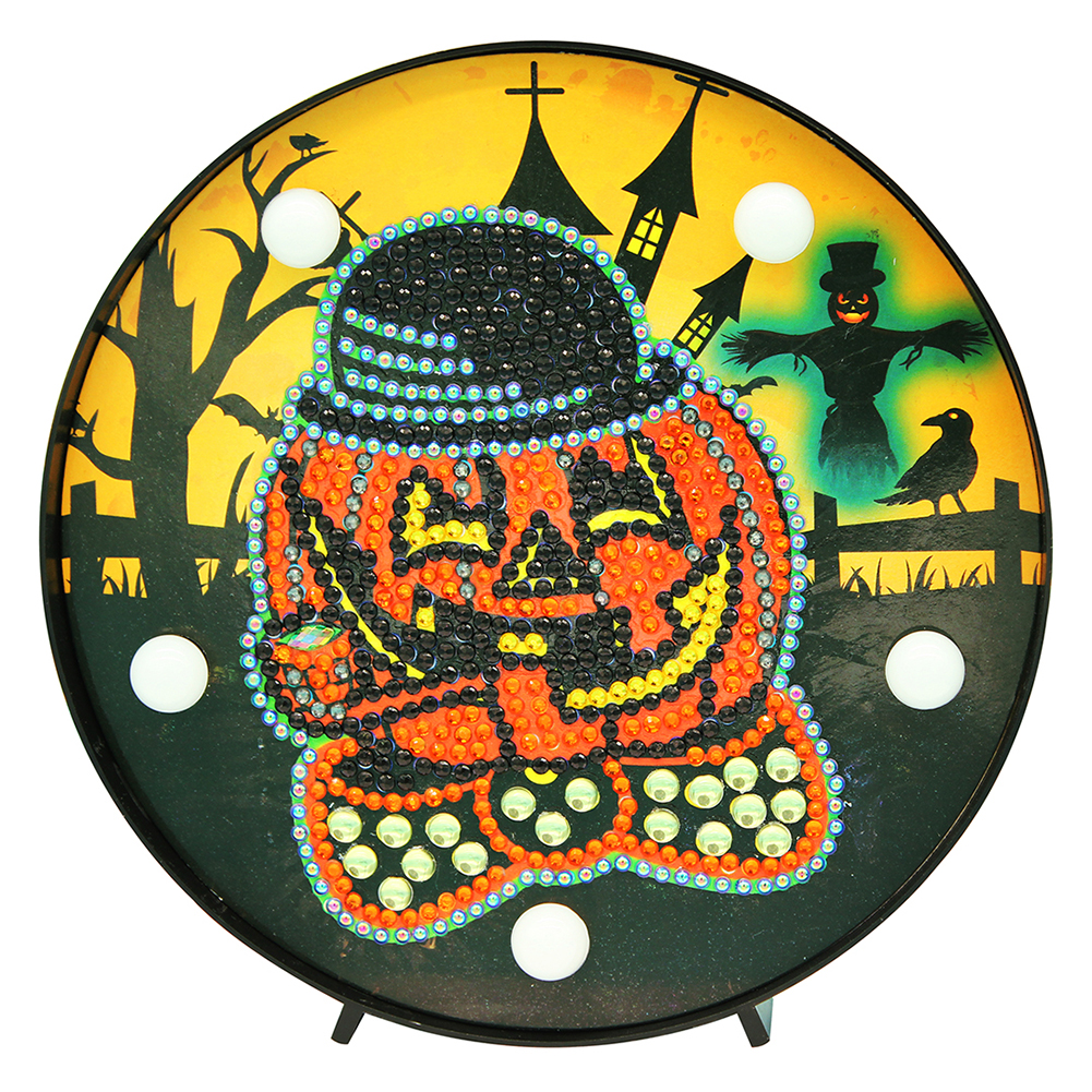 DIY Diamond Painting with LED Night Light for Halloween Home Bedside Decor 6in x 6in