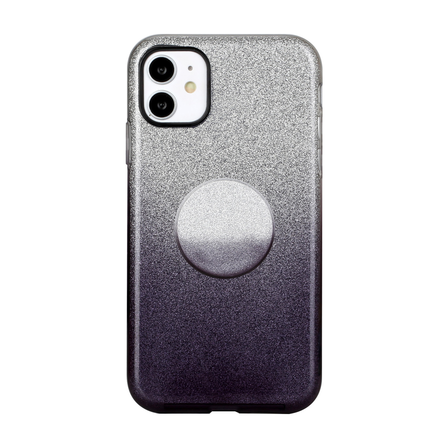 For iphone X/XS/XR/XS MAX/11/11 pro MAX Phone Case Gradient Color Glitter Powder Phone Cover with Airbag Bracket black