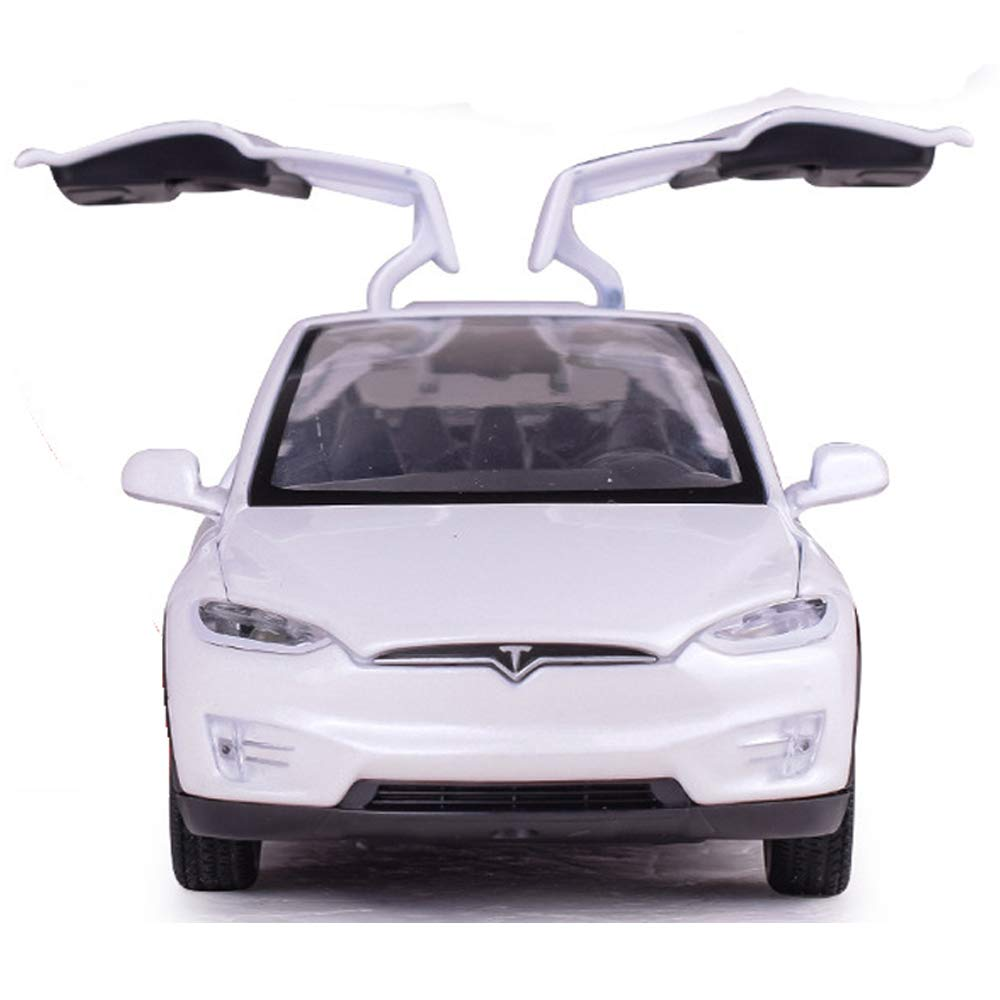 Simulate Alloy Pull back Car Kids Toy with Sound and Light  Function 1:32 Scale Model X 90 white