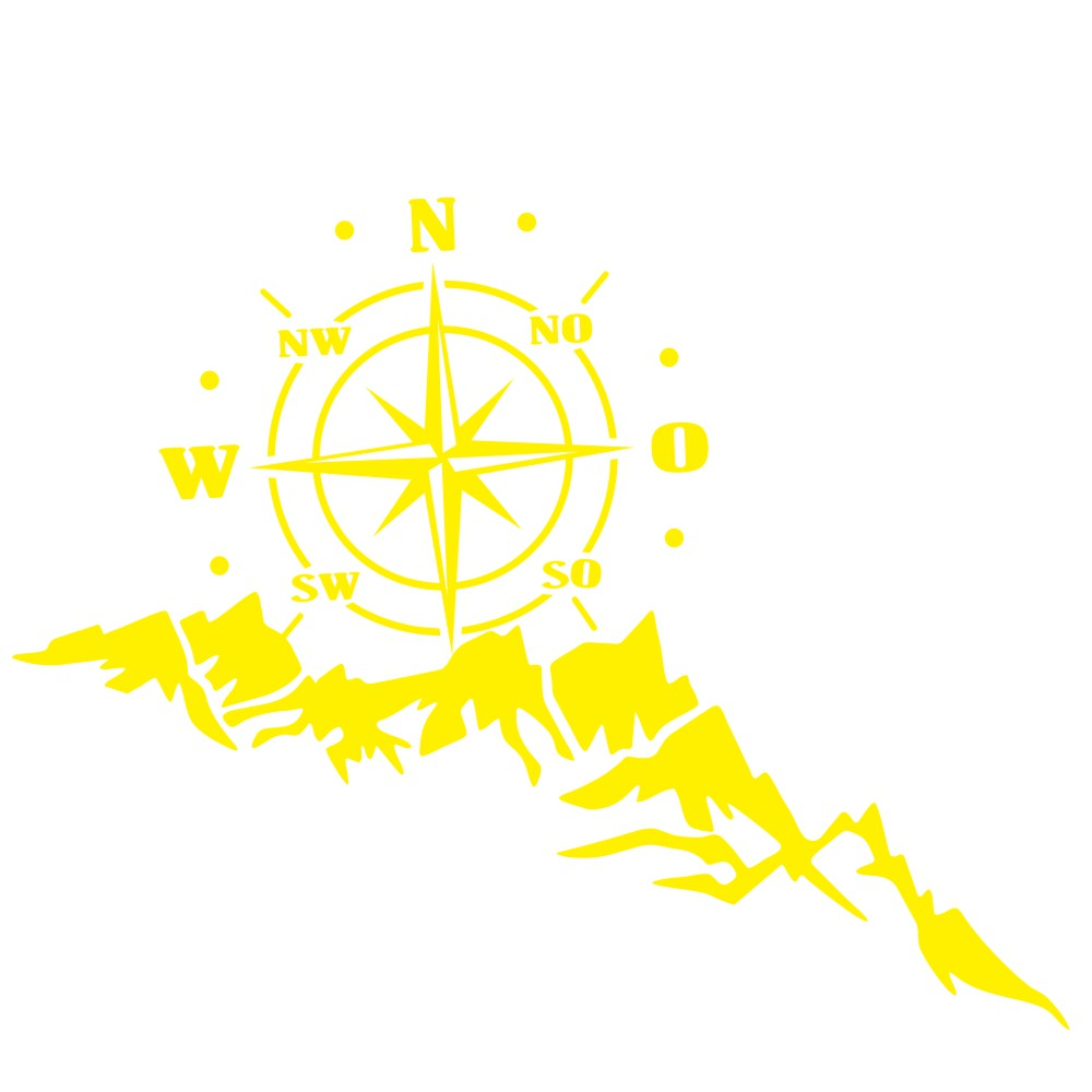2pcs Vinyl Car Stickers and Decals Mountains Compass Navigation Graphic Sticker Vehicle hood Car Body Sticker yellow