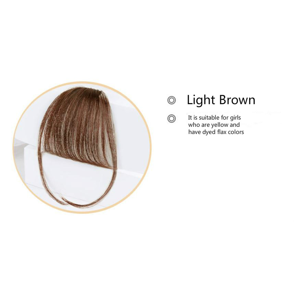 Lady Beauty Clip In Bangs Human Hair Air Bang Brazilian Hair Pieces Invisible Seamless Non-remy Replacement Hair Wig Light brown