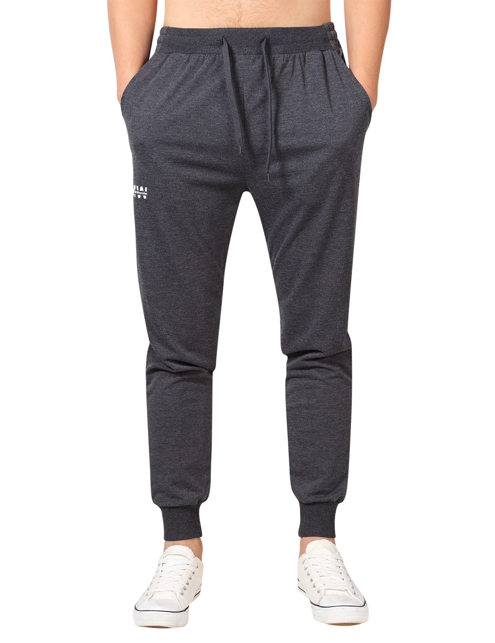 MrWonder Men's Casual Joggers Pants Fitness Running Trousers Slim Fit Bottoms Sweatpants with Pockets Dark gray_XL