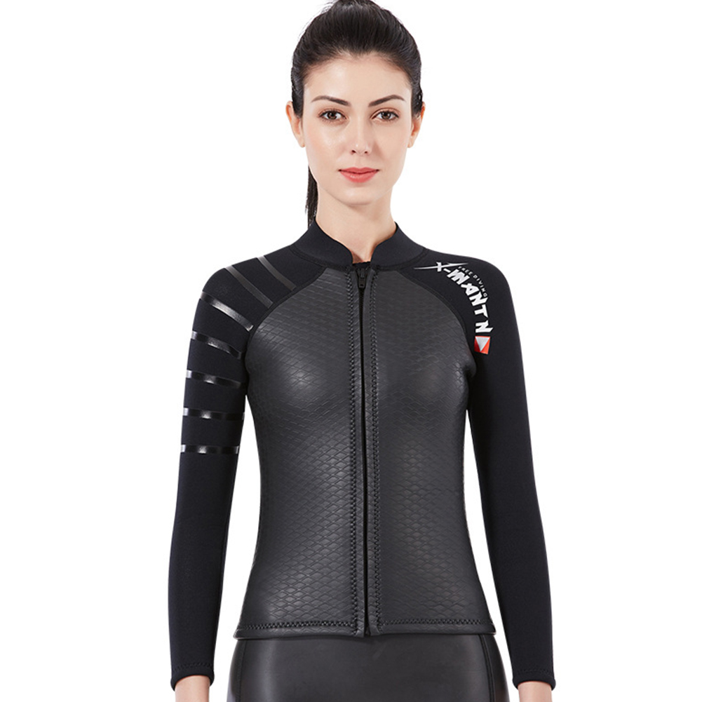 Smoothbark Diving Suit for Men 3MM Seperate Suit Female Jacket Surfing Warm Swimwear Female black_XL