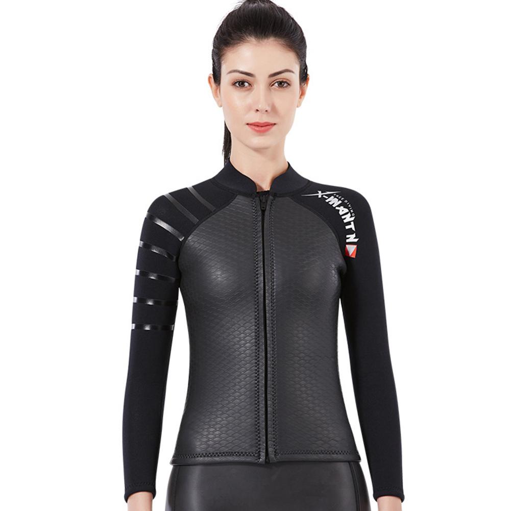 Smoothbark Diving Suit for Men 3MM Seperate Suit Female Jacket Surfing Warm Swimwear Female black_L
