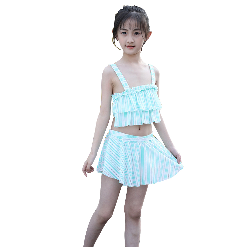 2pcs/set Lillte Girl Fashion Stripe Pattern Split Swimsuit for Children Girl green _Girl L (9-12 years old)