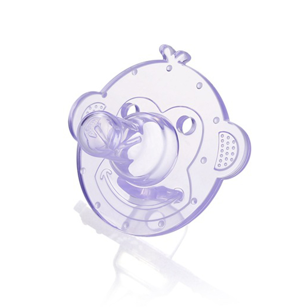 Silicone Pacifiers Baby Cartoon Silicone Teether Pacifiers Newborn Soother Accessories Monkey-purple