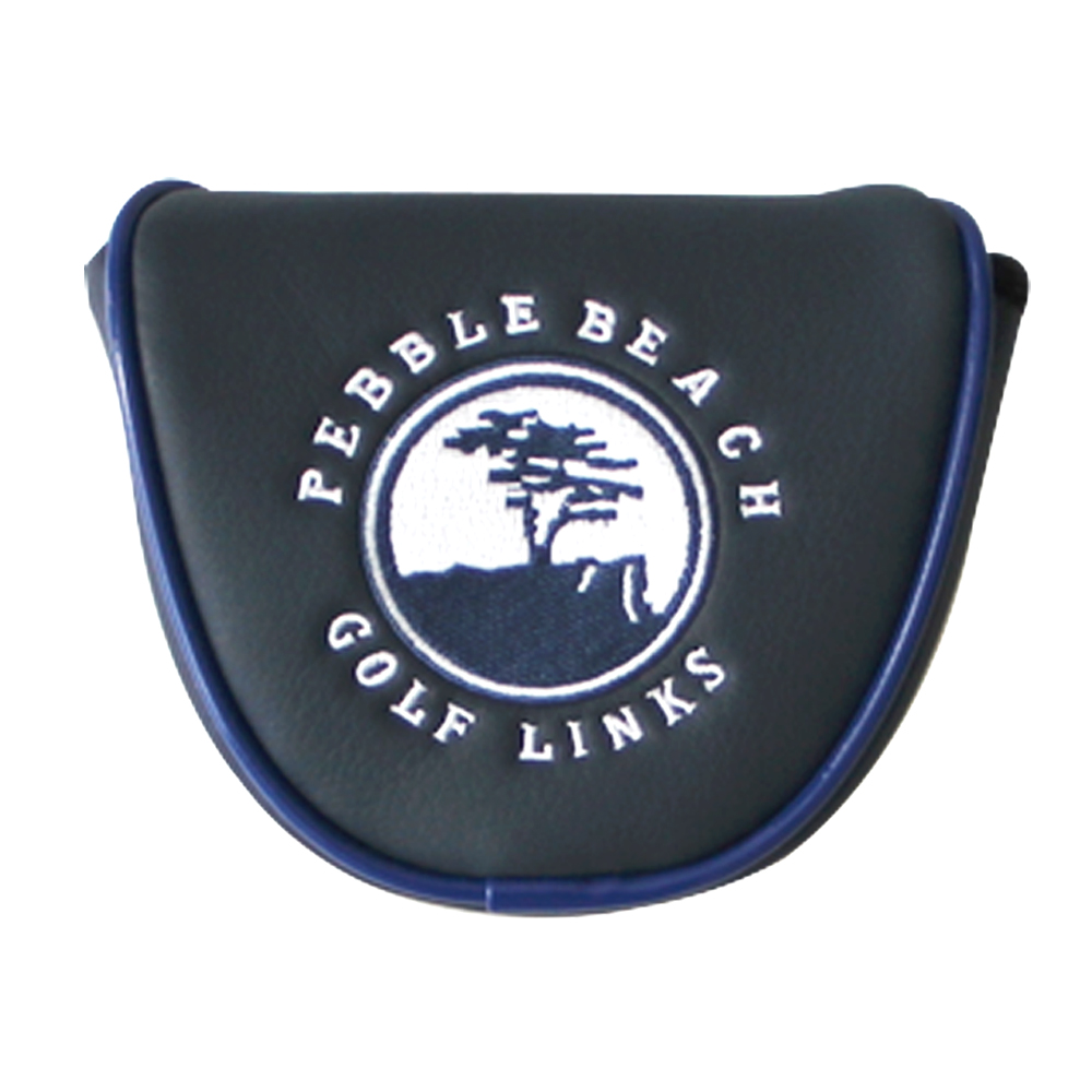 Golf Head Covers PU Waterproof Thicken   Magnetic Buckle Plush Golf Putter Cover Headcover Navy blue