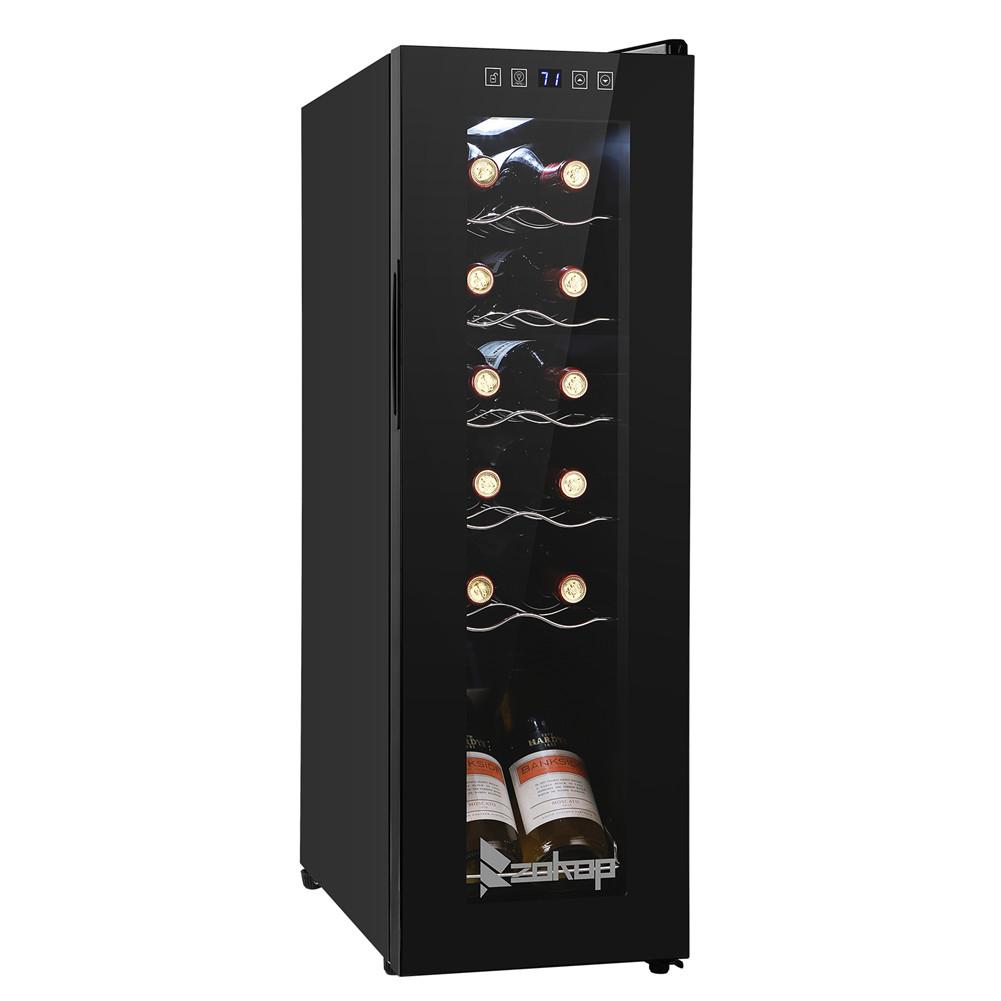 [US Direct] Jc-34 115v 85w 1.2cu.ft/34l 12bottle Compressor Wine  Cooler Cold Rolled Plate With Display Black