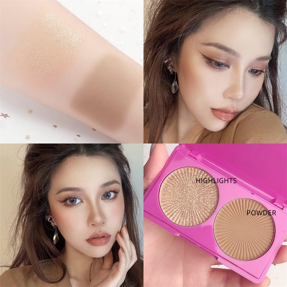 2 Color Highlighter Facial Bronzers Palette Face Brighten Glitter Face Contour Shimmer Powder No. 3 highlight +bronzer
