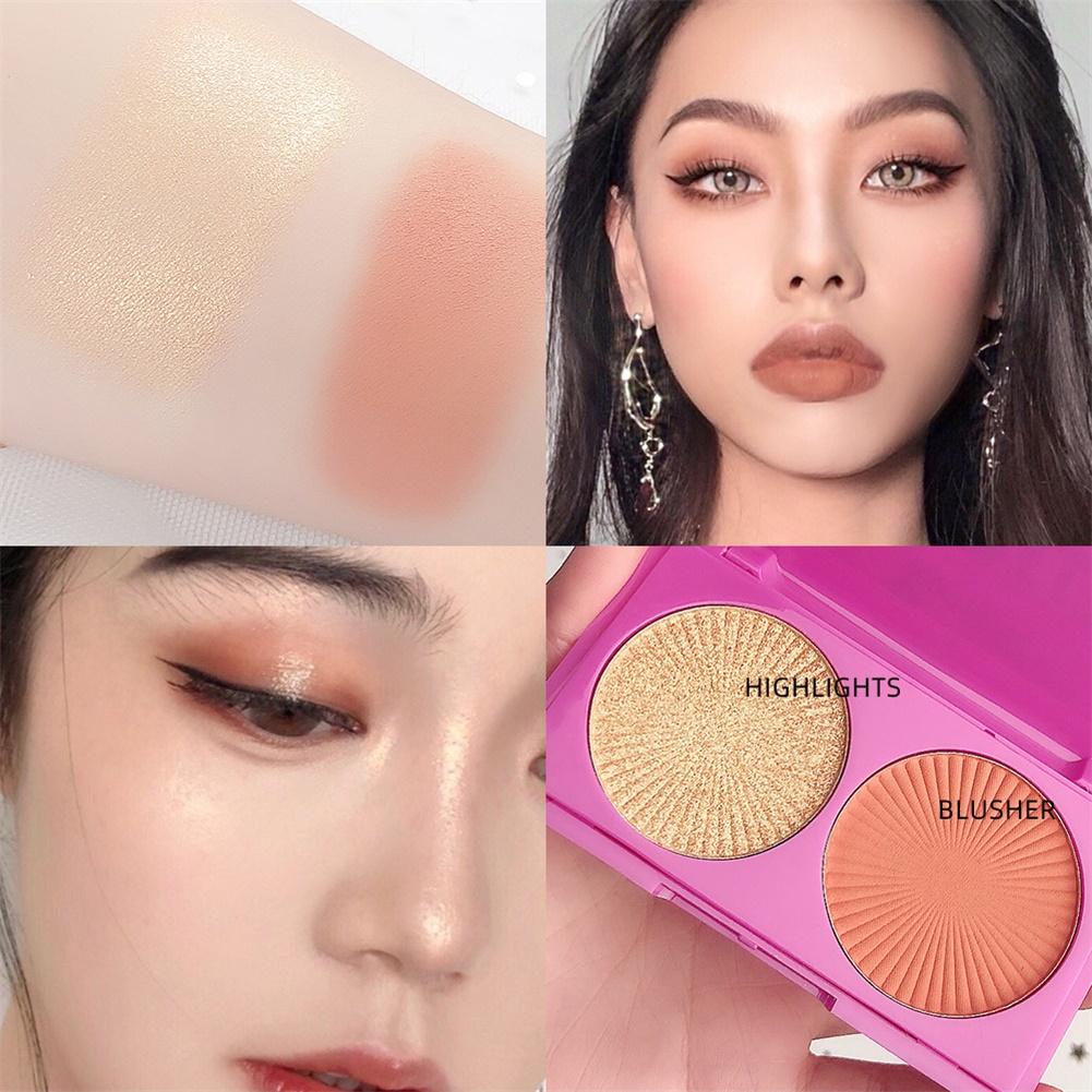 2 Color Highlighter Facial Bronzers Palette Face Brighten Glitter Face Contour Shimmer Powder No. 2 highlight + blush