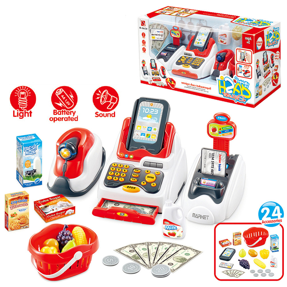 24Pcs/Set LED Music Shop Cash Register Scanner Food Model Pretend Play Kids Toy