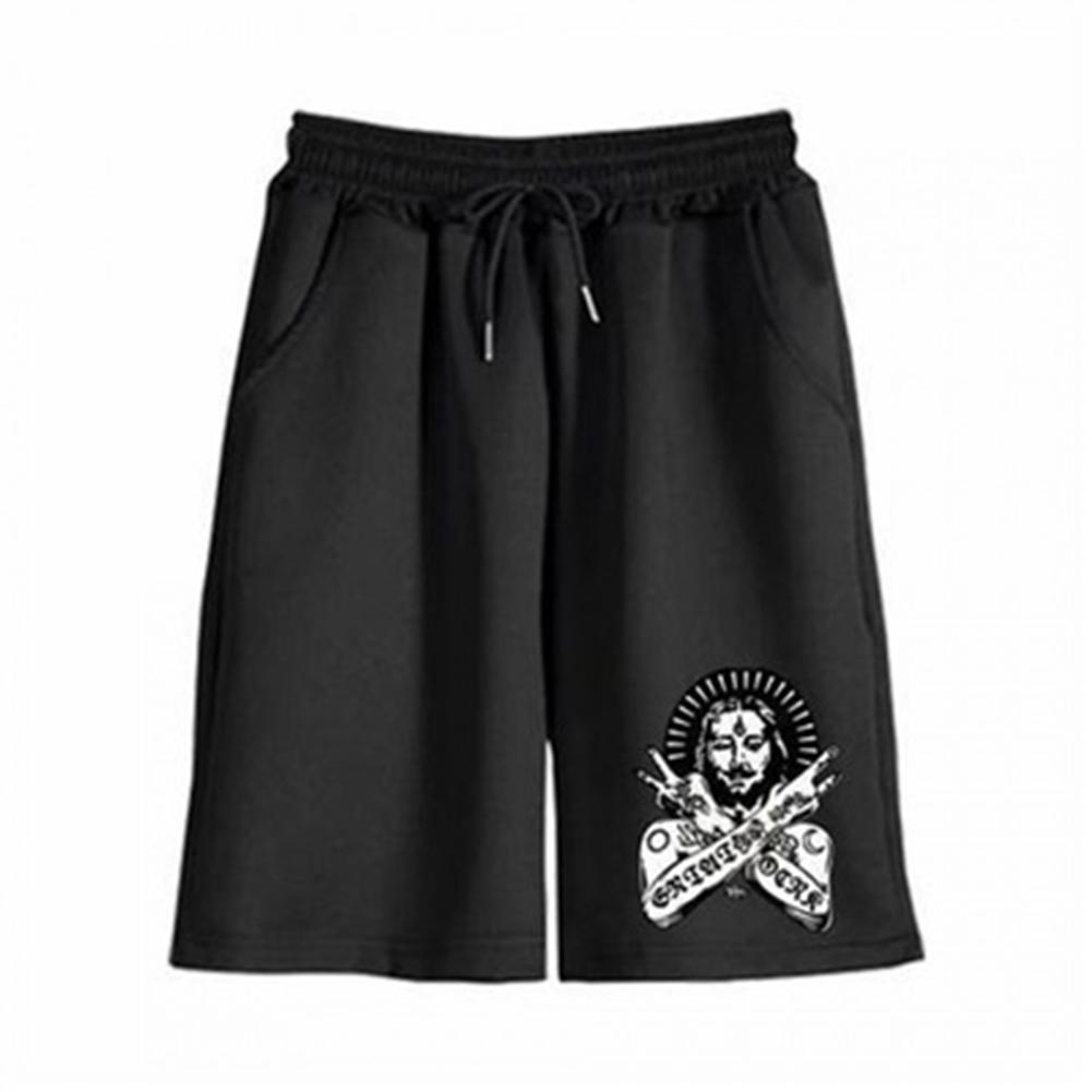 Men Casual Pants Cotton Blend Loose Printing Mid-waist Sports Beach Shorts black_2XL