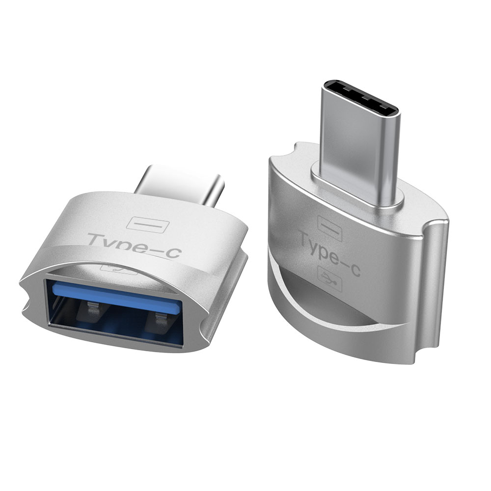 Metal USB 3.1 Type C Male to USB 2.0 A Female OTG Data Adapter Type C OTG Adapter Silver