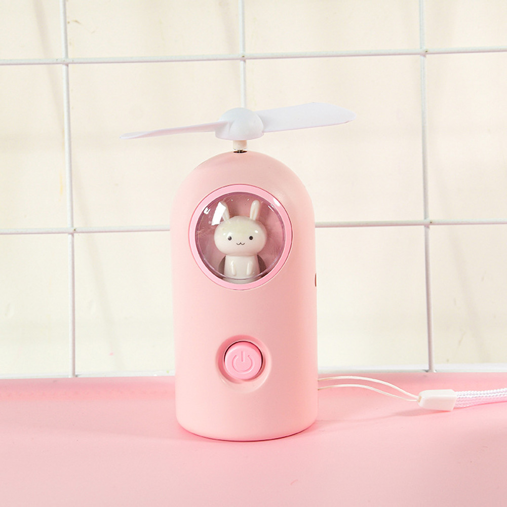 Mini Handheld Fan Cartoon Portable USB Charging with Night Light for Home Office Travel A-pink_11 * 4.7cm
