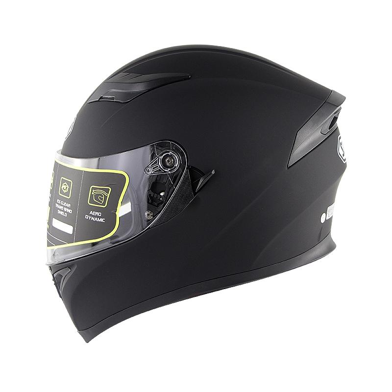Full Face Motorcycle Helmet Sun Visor Dual Lens Moto Helmet Matte black_L