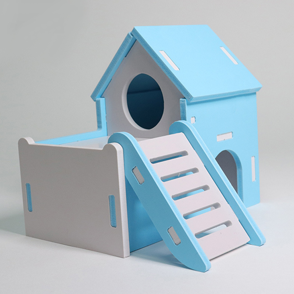 Pet Double Layer Hamster Nest Small Hiding Stairs House Toy  blue