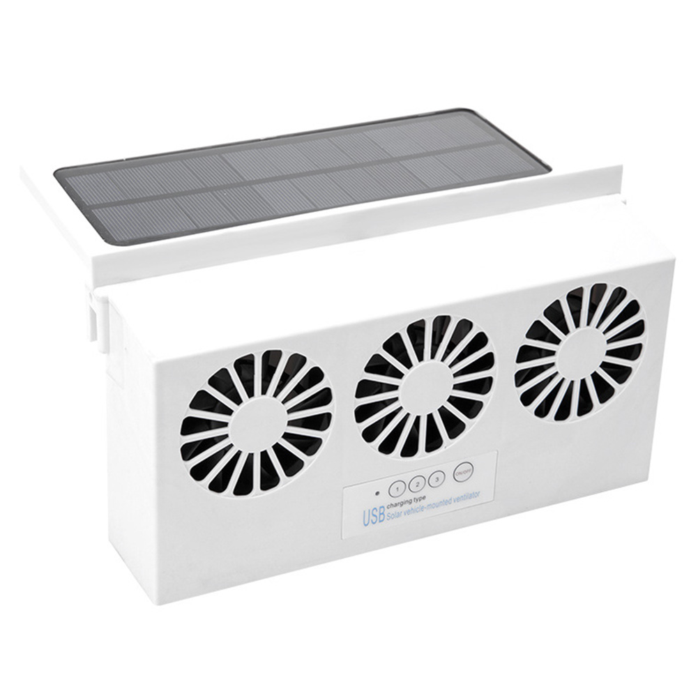 Car Solar Powered Exhaust Fan USB Car Gills Cooler Auto Ventilation Fan  white