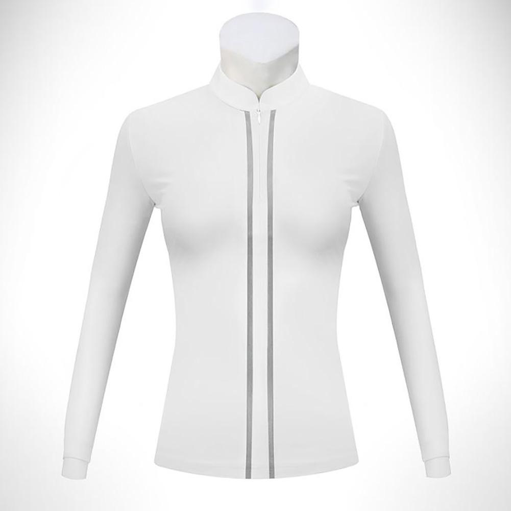 Golf Clothes Women Long Sleeve T-shirt Autumn Winter Warm Stand Collar Golf Suit YF205 white_L