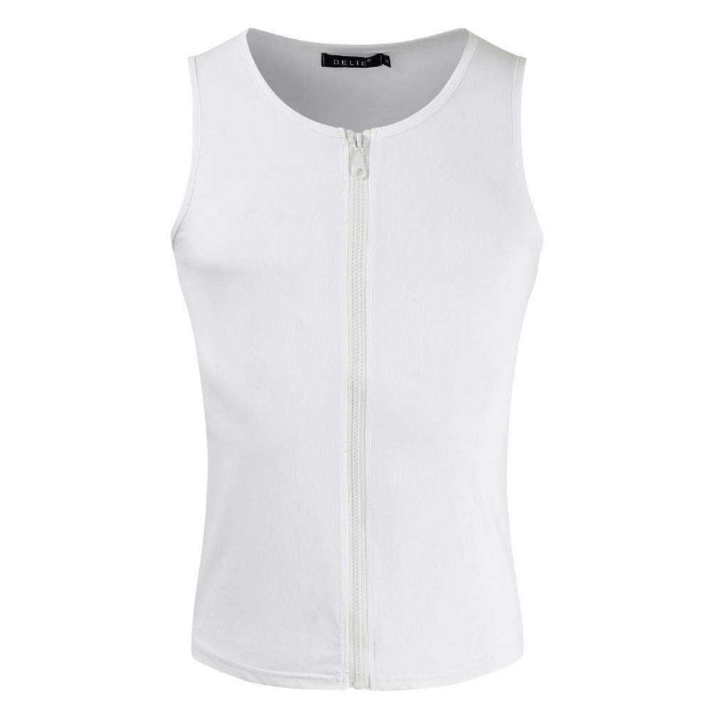 Men's Vest Casual Half-opening Seamless Fitness Zipper Vest White _XL