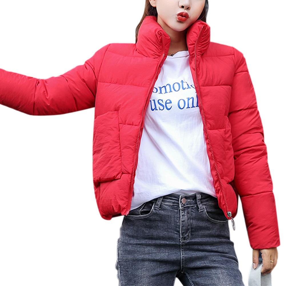 Autumn Winter Women Slim Jacket Stand Collar Soft Warm Cotton Jacket