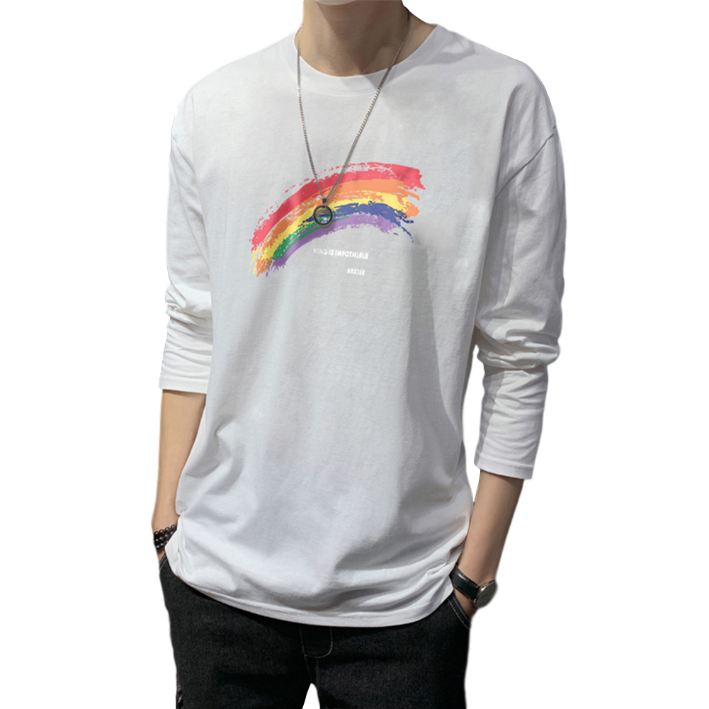 Men's T-shirt Autumn Long-sleeve Thin Loose Rainbow-printing Bottoming Shirt  white_L