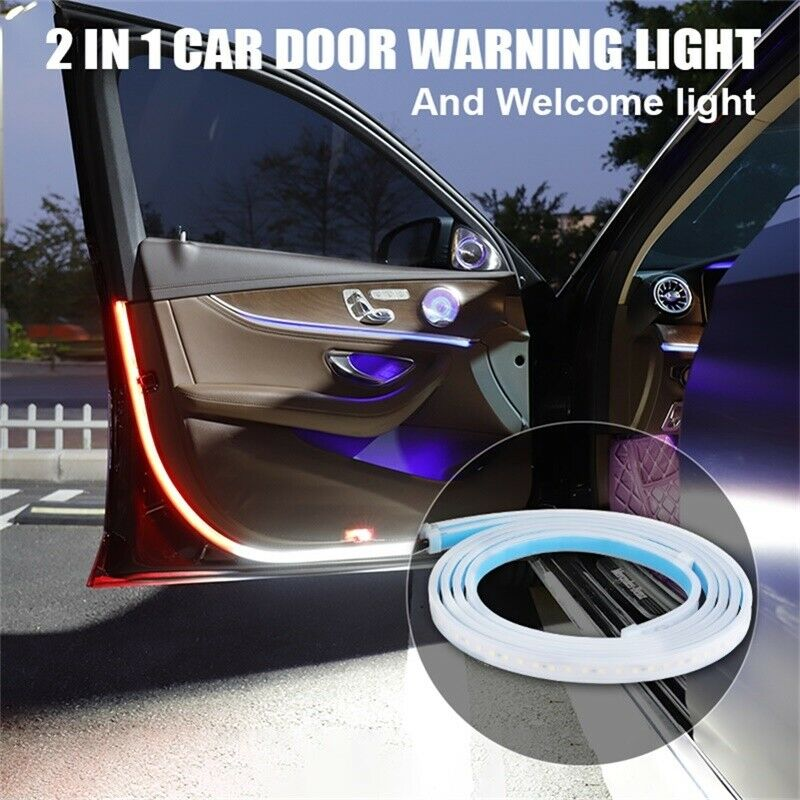 2PCS 2in1 Car Door Warning Light Anti Collision Flashing Safety and Welcome Light Universal for Most Cars Red+white
