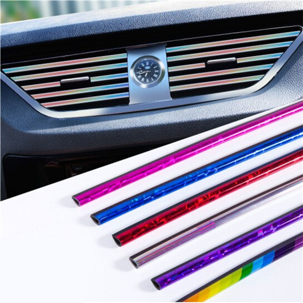 Car Interior Air Conditioner Outlet Vent Grille Strips Decoration U Shape Interior Moulding Trim Strips Plating blue (10 pieces)