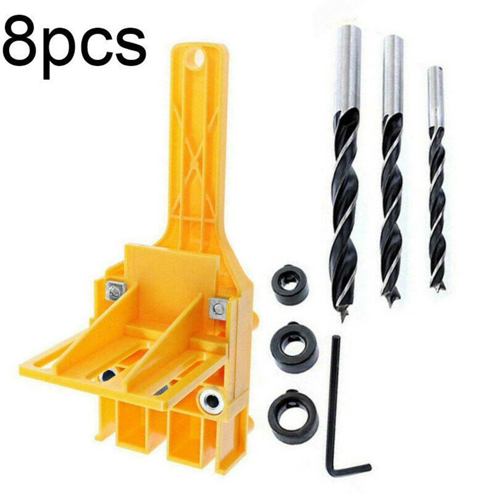 Hand-held Hole  Punch Fixture Drill Guides High-speed Steel Wood Drills 6-10mm Woodworking Tools Hole punch + 7-piece drill bit