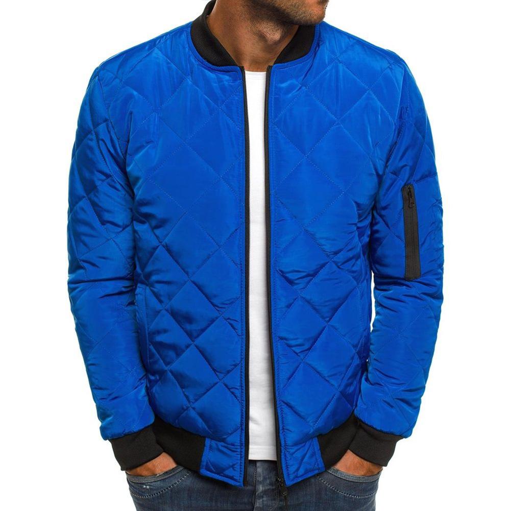 Men Cotton Jacket Coat Plaid Stand Collar Simple Solid Color Autumn Winter Overcoat Royal blue_XL