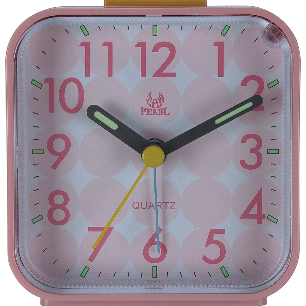 Portable Silent Noctilucence Alarm Clock with Night Light Snooze Function for Kids Table Desktop Beside Pink