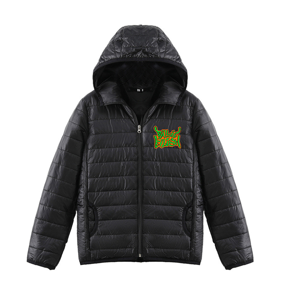 Thicken Short Padded Down Jackets Hoodie Cardigan Top Zippered Cardigan for Man and Woman Black C_S
