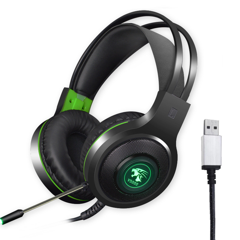 V5000 Gaming Headphones 7.1 Channel with Microphone Game Headset Over Ear USB plug (independent sound card)