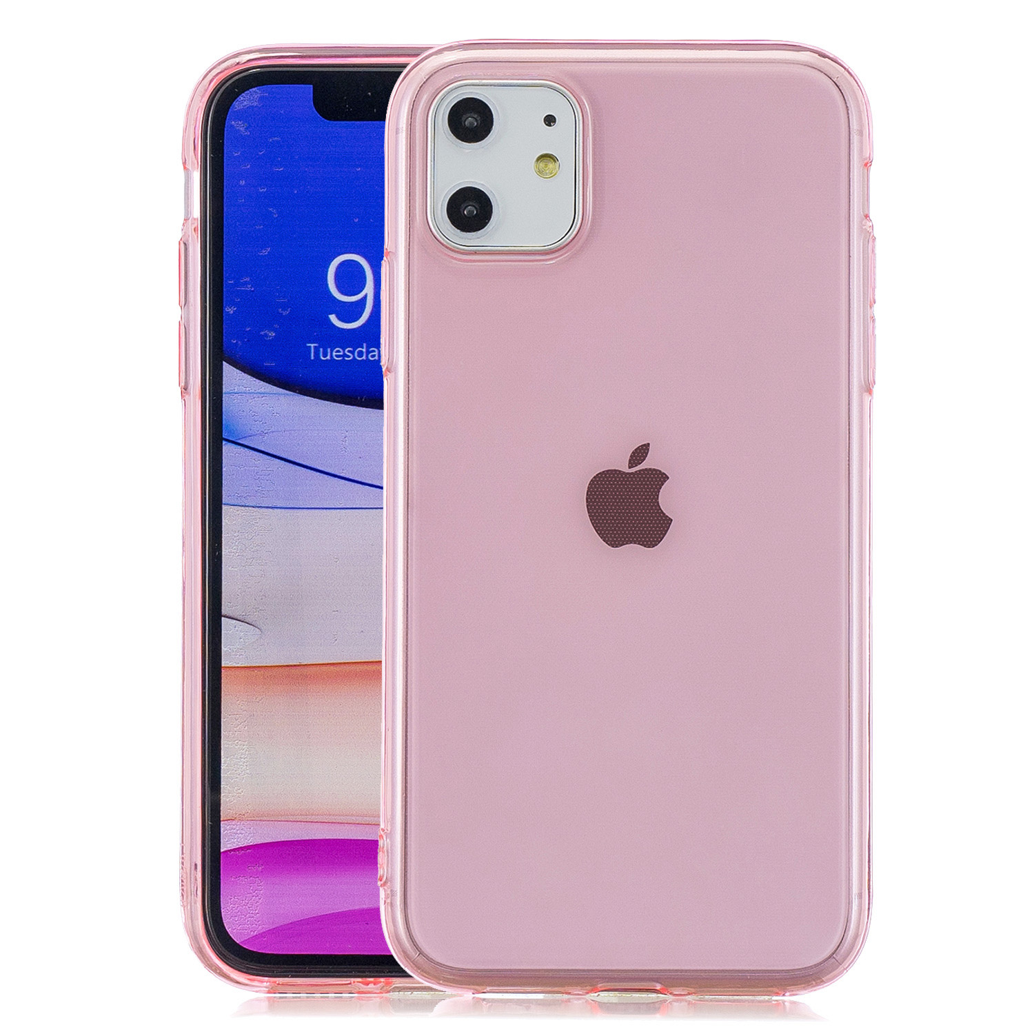 for iPhone 11 / 11 Pro / 11 Pro Max Clear Colorful TPU Back Cover Cellphone Case Shell Pink