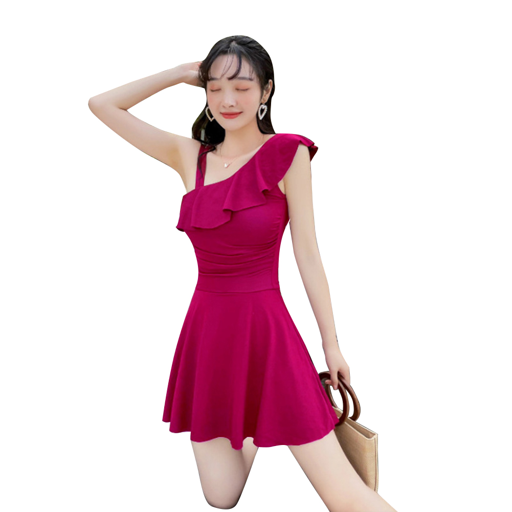 Women Swimsuit Conservative Solid Color Thin Type One-piece Boxer Shorts Swimwear Rose red_M