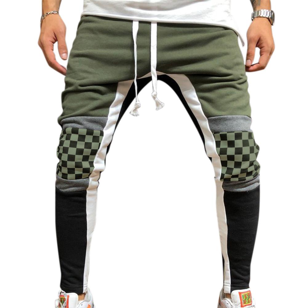 Men Jogger Stadium Gymnasium Runway Colorful Striped Runway Casual Pants ArmyGreen_XL