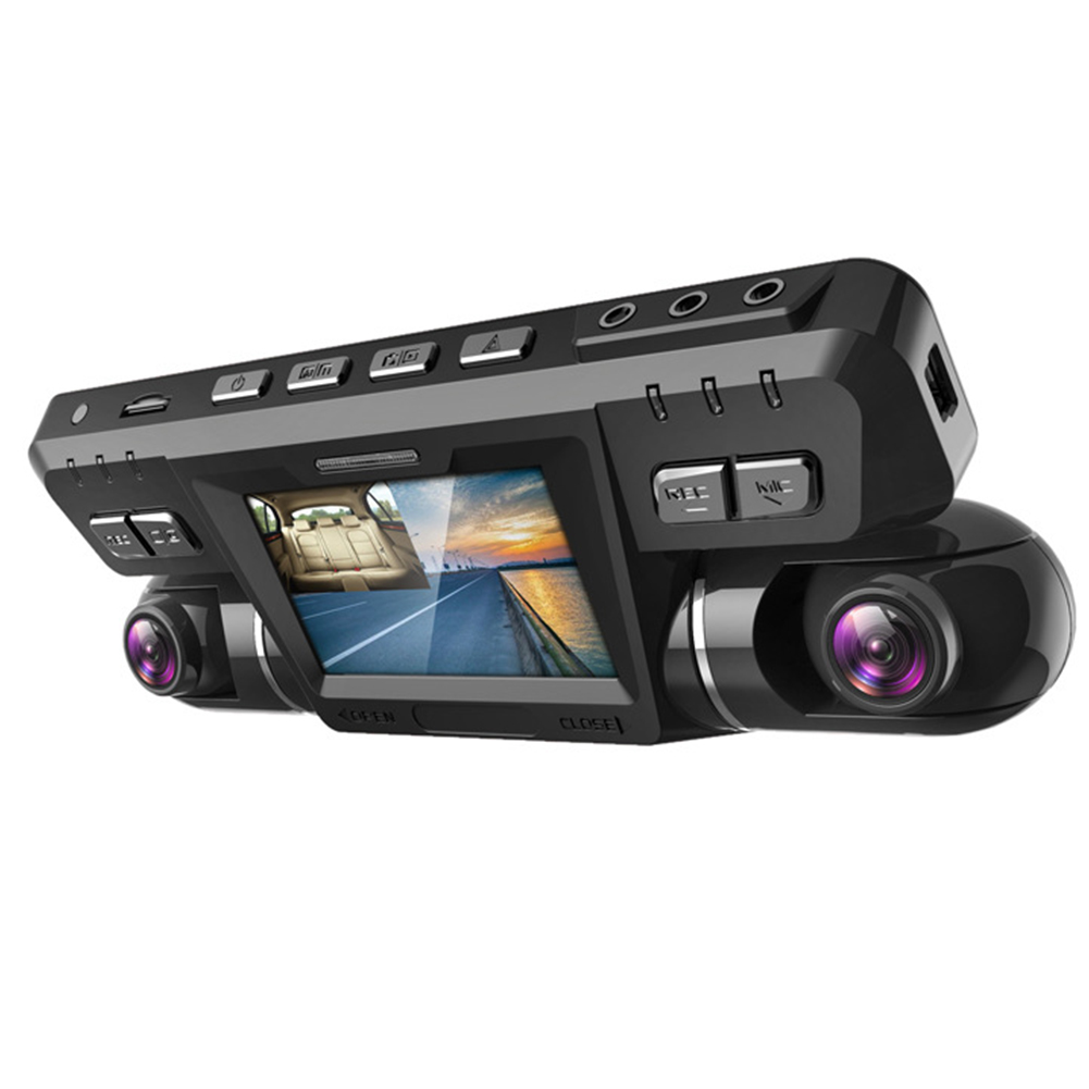 Hidden Dashcam Dual Lens HD Night Vision Wide Angle Car Recorder Parking Monitoring black