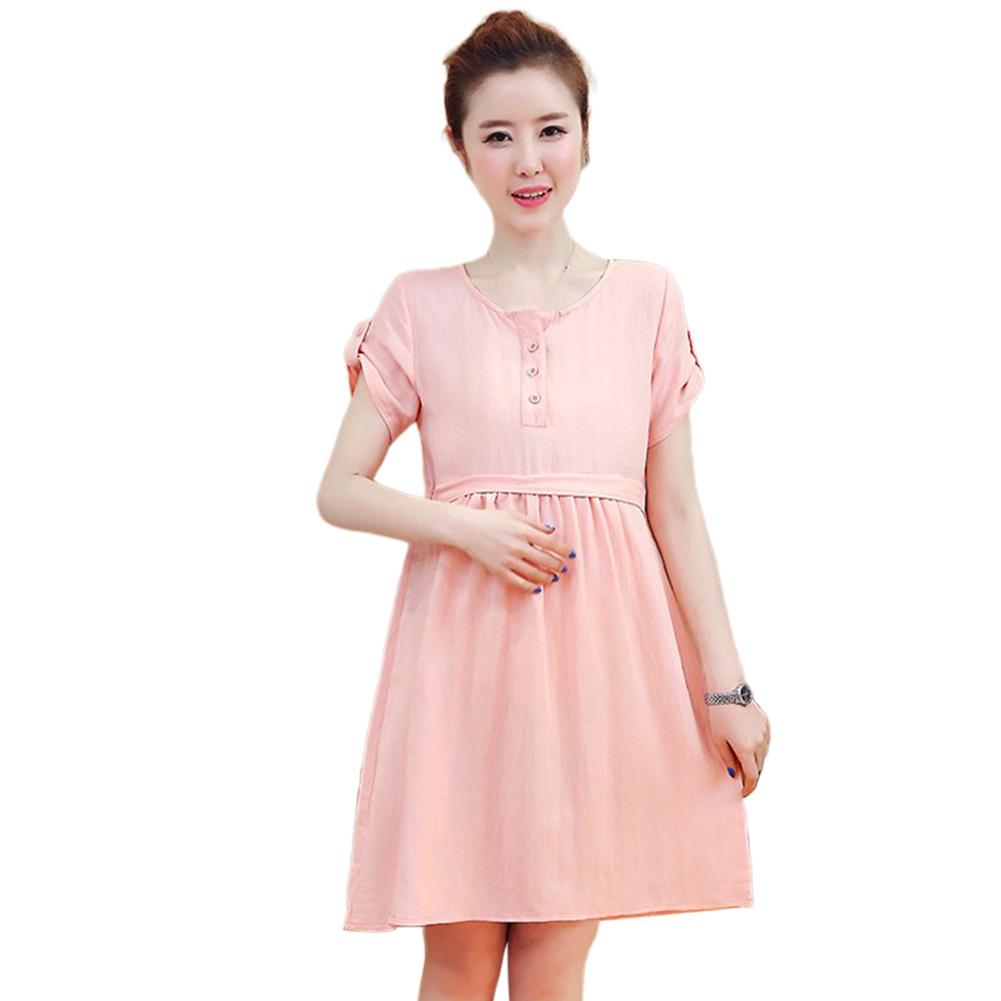 Pregnant Dress Short Sleeve Summer Cotton Linen Dress for Pregnant Woman Pink_XL