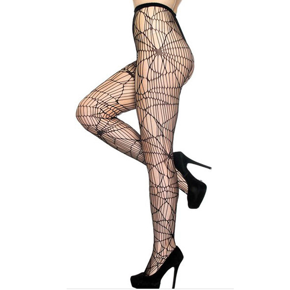 Women Halloween Sexy Black Spider Web Hollow Socks Net Stockings Performance Cosplay Props Hallowmas Party Dress Decoration black_one size