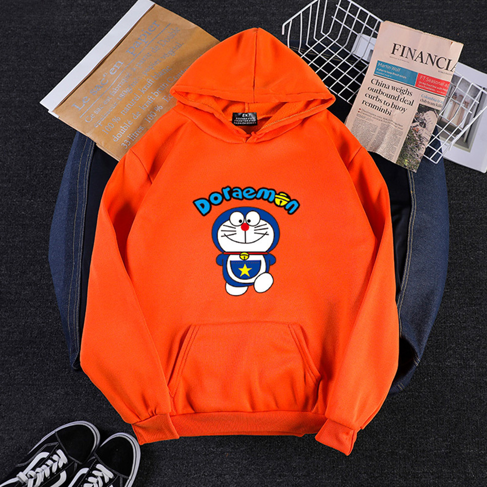 Men Women Hoodie Sweatshirt Cartoon Doraemon Thicken Loose Autumn Winter Pullover Tops Orange_XXXL