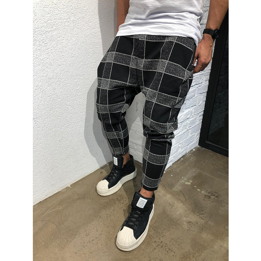 Men Casual Trousers Tight Trousers Foot Loose Long Pants  black_L