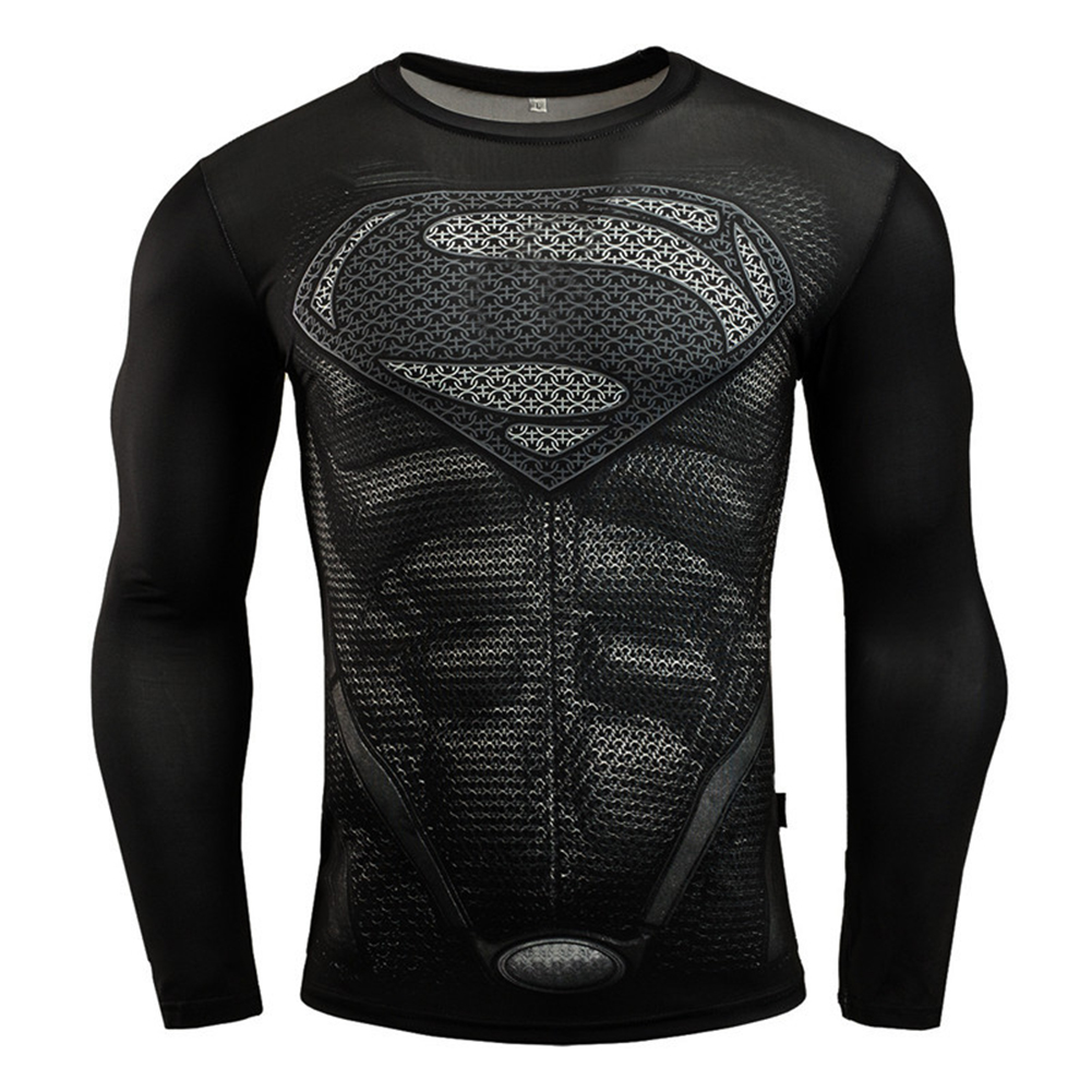 Fitness Compression Shirt Men Anime Printing Bodybuilding Long Sleeve Crossfit 3D Superman Punisher T Shirt  black superman_L