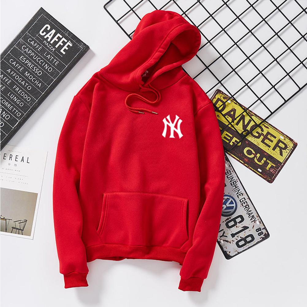 Women Men Loose Long Sleeve Casual Sports Fleece Sweatshirts Coat red_L