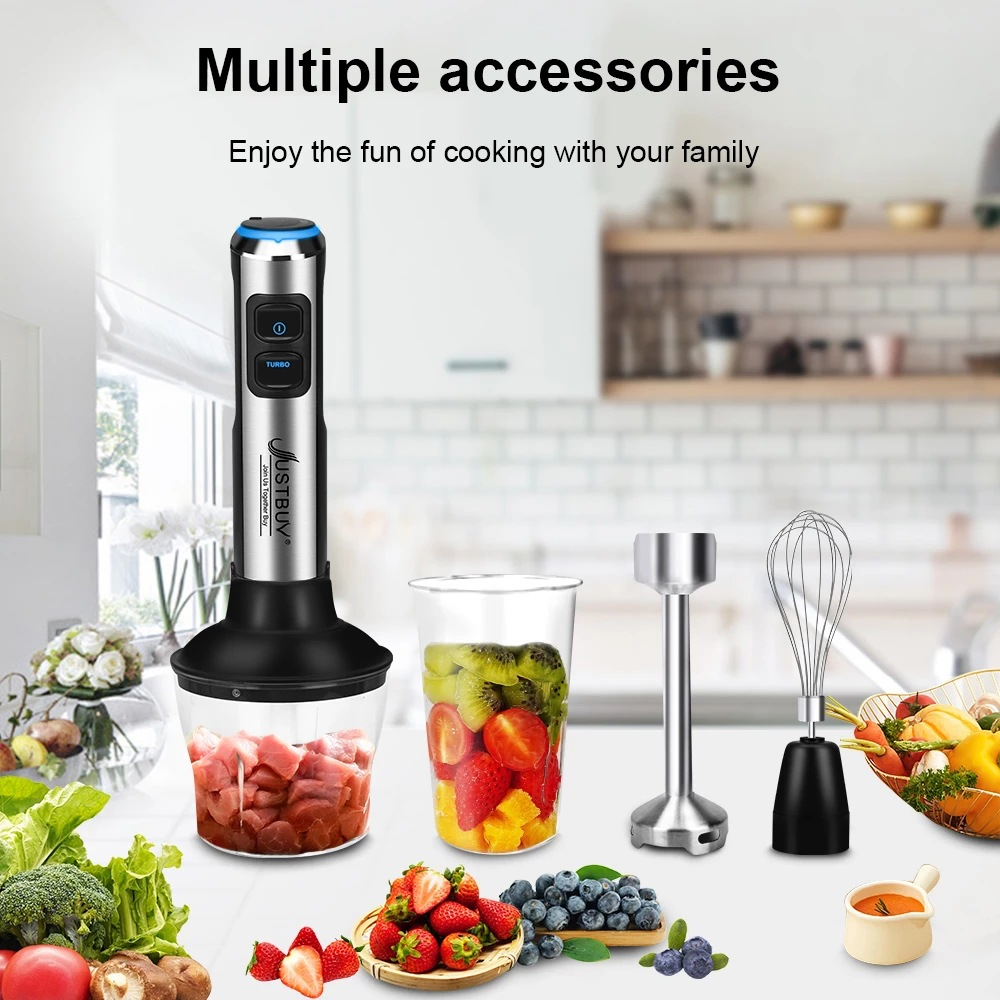 1 Set Of 4-in-1 Stainless Steel 1500w Handheld  Blender Vegetable Meat Grinder 600ml Whisk 800ml as picture show