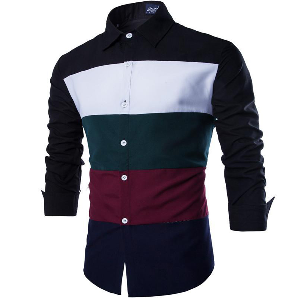 Men Spring and Autumn Casual Personality Fashion Long Sleeve Slim Shirt Tops 1#_XXL