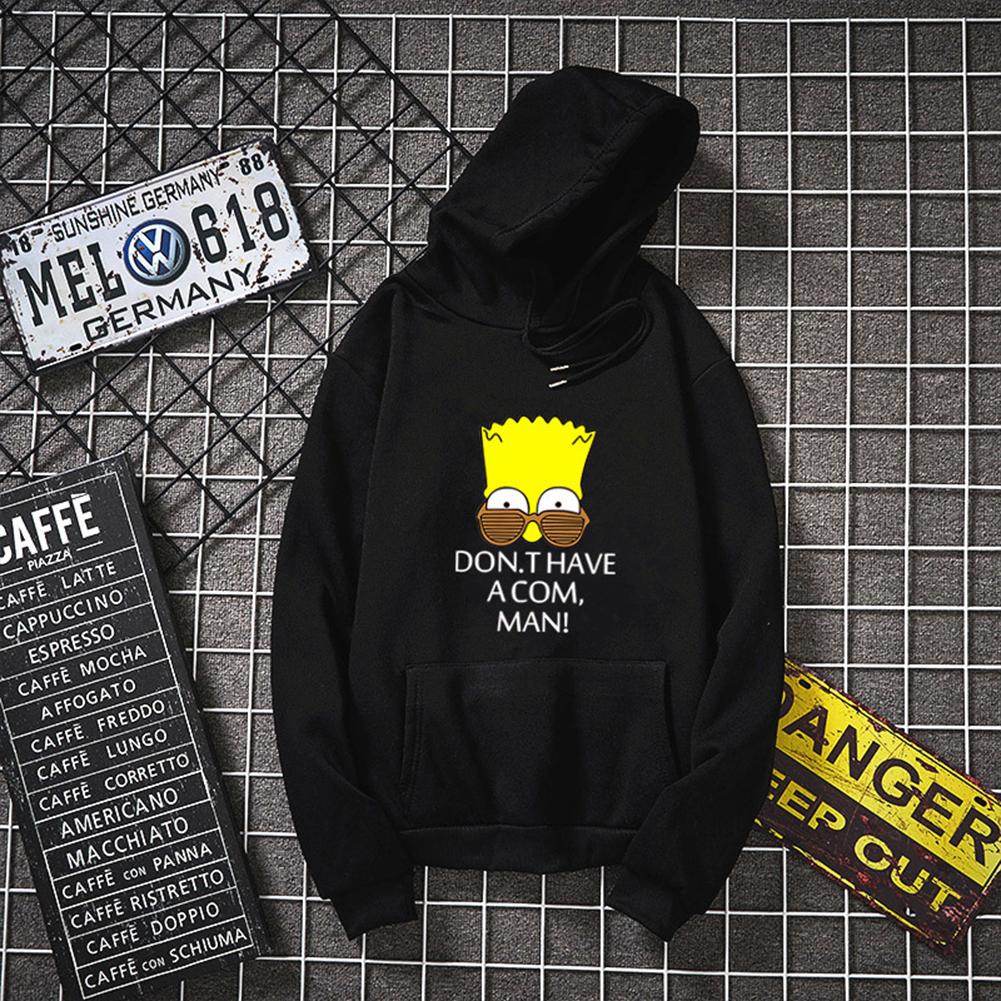 Unisex Simpson Cute Pattern Printing Hoodies Couple Pullover Hoodies black_S
