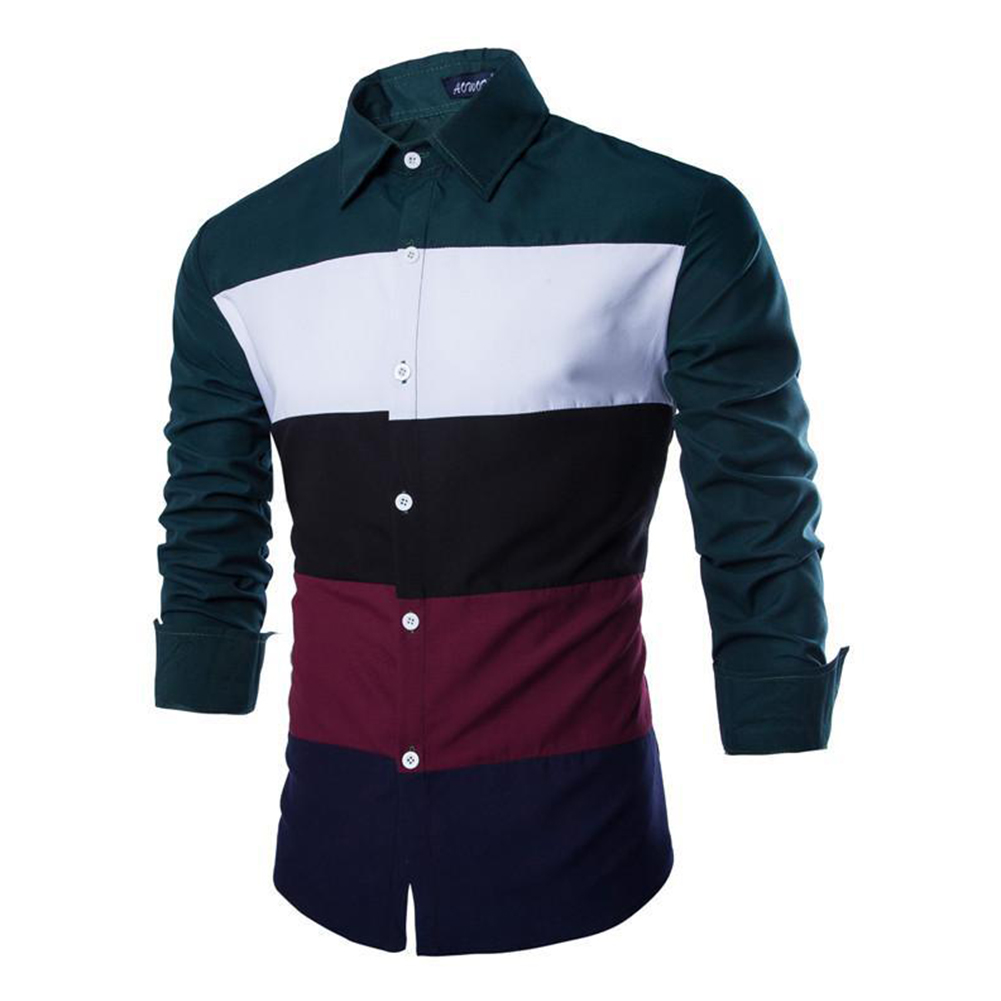 Men Spring and Autumn Casual Personality Fashion Long Sleeve Slim Shirt Tops 2#_L